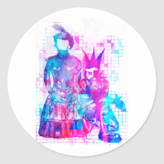 Cotton Candy Goth Girl and Punk Dude Classic Round Sticker