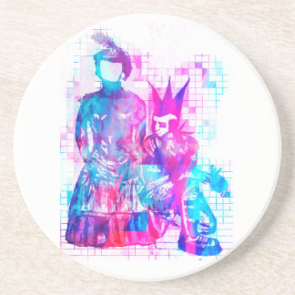 Cotton Candy Goth Girl and Punk Dude Coaster