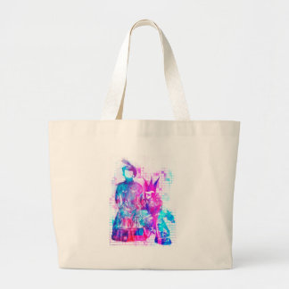 Cotton Candy Goth Girl and Punk Dude Large Tote Bag