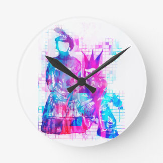 Cotton Candy Goth Girl and Punk Dude Round Clock