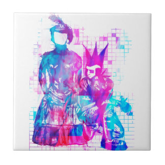 Cotton Candy Goth Girl and Punk Dude Tile