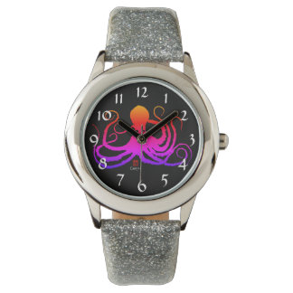 Cotton Candy Octopus - Girl's Silver Glitter Watch