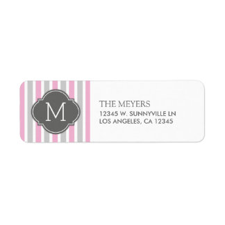 Cotton Candy Pink and Gray Stripes with Monogram