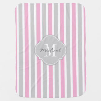 Cotton Candy Pink and Gray Stripes with Monogram Baby Blanket