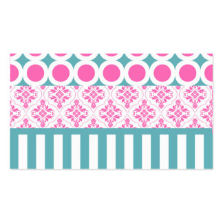 Cotton Candy Pink Blue Circles Stripes Damask Coll Business Card