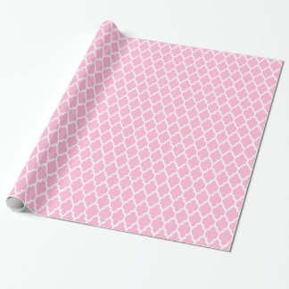 Cotton Candy Pink Moroccan Quatrefoil Pattern #4 Wrapping Paper
