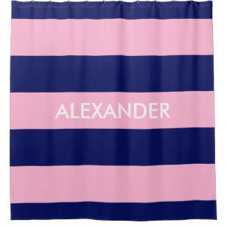 Cotton Candy Pink Navy Blue H Stripe #3 Monogram