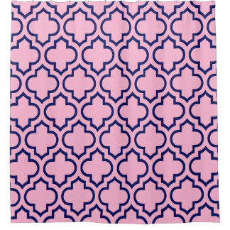 Cotton Candy Pink Navy Blue Moroccan #6 Pattern