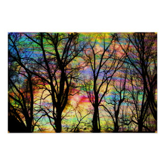 Cotton candy sunrise, bare trees, colorful art poster