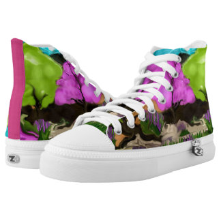 Cotton Candy Trees Abstract Art High Tops