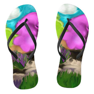 Cotton Candy Trees Abstract Flip Flops