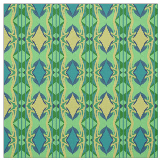 Cotton Fabric  -Crafts-Home-Green/Blue/Creme