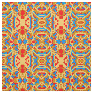 Cotton Fabric -Crafts -Pattern on Blue,Tan,Red