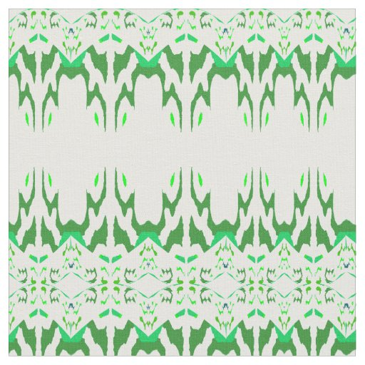 Cotton Fabric-Crafts-Pattern on White & Green Fabric