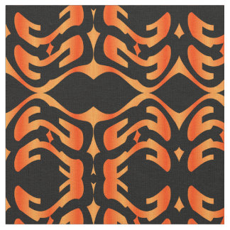 Cotton Fabric-Crafts-Pattern-Orange/Gold/Black Fabric