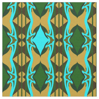 Cotton Fabric -Crafts-Turquoise/Green/Tan