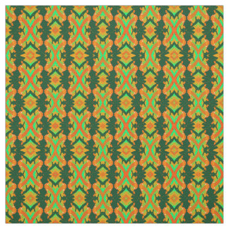 Cotton Fabric-Speckled-Orange/Turquoise/Green Fabric