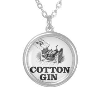 cotton gin bW Silver Plated Necklace