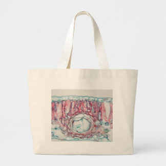 Cotton leaf under the microscope large tote bag