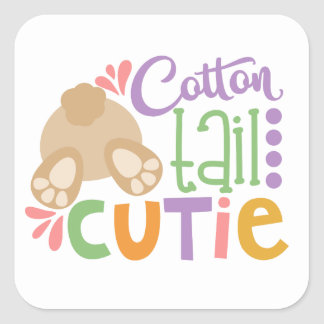 Cotton tail cutie fun Easter party sticker