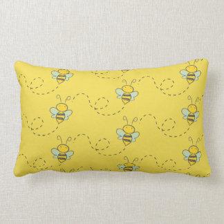 """Cotton Throw Pillow, Lumbar  13"""" x 21"""" BEES FLIGHT Lumbar Pillow"""