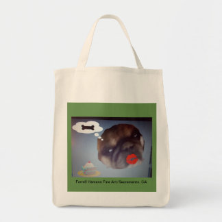 Cotton Twill Grocery Bag with Cute Pug