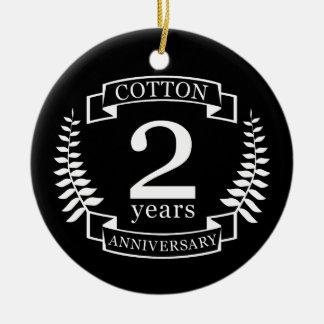 Cotton wedding anniversary 2 years married ceramic ornament