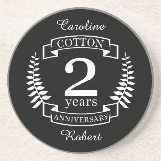 Cotton wedding anniversary 2 years married coaster