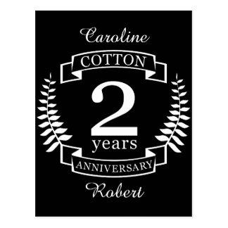 Cotton wedding anniversary 2 years married postcard