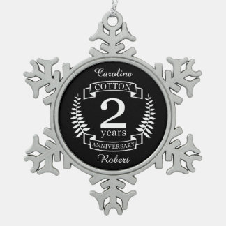 Cotton wedding anniversary 2 years married snowflake pewter christmas ornament