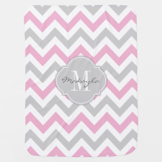 Cottoncandy Pink and Gray Chevron with Monogram Baby Blanket