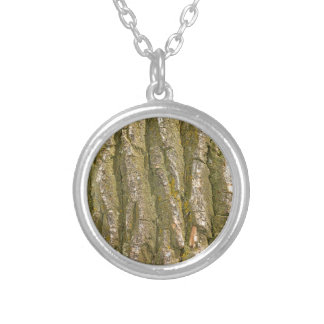 Cottonwood Tree Bark Texture Silver Plated Necklace