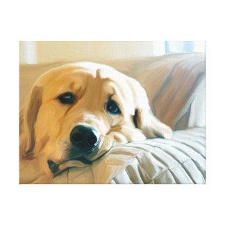 Couch Golden Retriever Dog Portrait Oil Painting Canvas Print