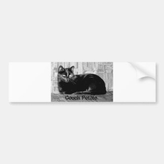 """Couch Potato"" Black Cat Bumper Sticker"