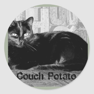 """Couch Potato"" Black Cat Classic Round Sticker"