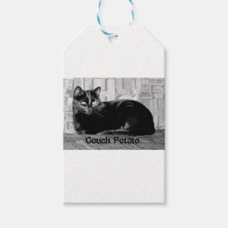 """""""Couch Potato"""" Black Cat Gift Tags"""