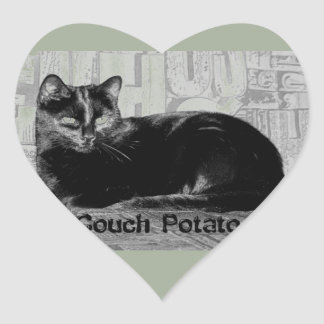 """Couch Potato"" Black Cat Heart Sticker"