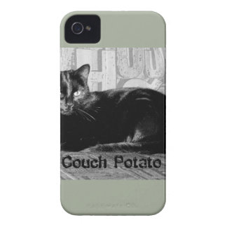 """Couch Potato"" Black Cat iPhone 4 Case-Mate Case"