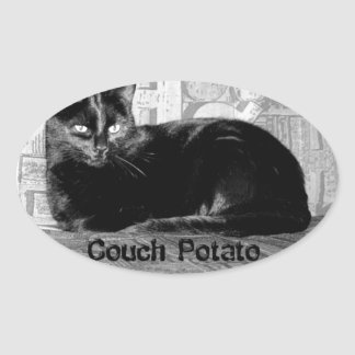 """Couch Potato"" Black Cat Oval Sticker"