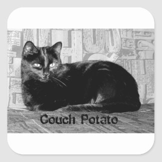 """Couch Potato"" Black Cat Square Sticker"
