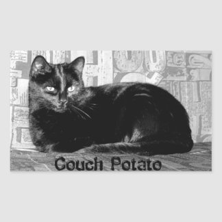 """Couch Potato"" Black Cat Sticker"