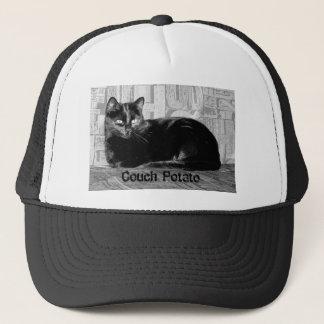 """Couch Potato"" Black Cat Trucker Hat"