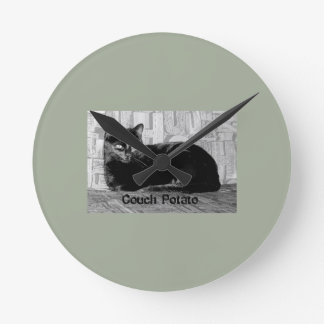 """Couch Potato"" Black Cat Wallclocks"