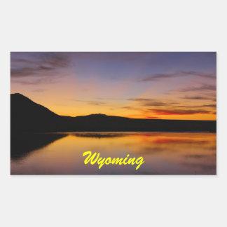 Coucher du soleil dans la photo occidentale du Wyo Autocollant Rectangulaire