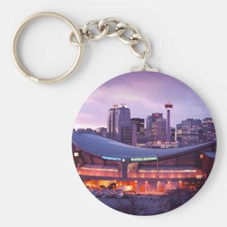 Coucher du soleil de Calgary Porte-clé Rond