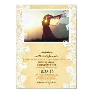 Coucher du soleil de couples de mariage Romance Carton D'invitation 12,7 Cm X 17,78 Cm