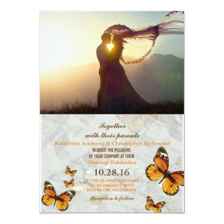 coucher du soleil des couples 047-Wedding Carton D'invitation 12,7 Cm X 17,78 Cm