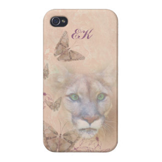 Cougar and Butterflies, Monogram iPhone 4 Cover