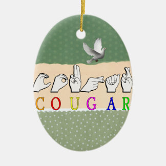 COUGAR FINGERSPELLED ASL NAME SIGN CERAMIC ORNAMENT