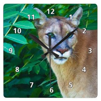 Cougar in the Jungle Clock
